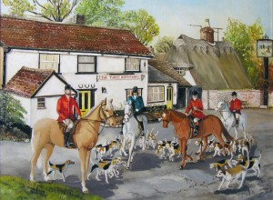 0014 COMMISSION November 1983: The Last Hunt (The Three Horseshoes Pub, Comberton, showing the final Cambridgeshire Hunt Meeting at the pub in 1984)