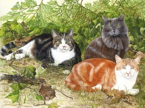 1209 COMMISSION Domestic Pride (George (ginger), Snoopy (grey), Pumpkin (tabby))
