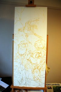 1501 Blue Macaws and Swamp Hibiscus. Sketch on Canvas done with Light Sepia Oil