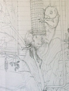 1504 Grey Squirrels original sketch - detail